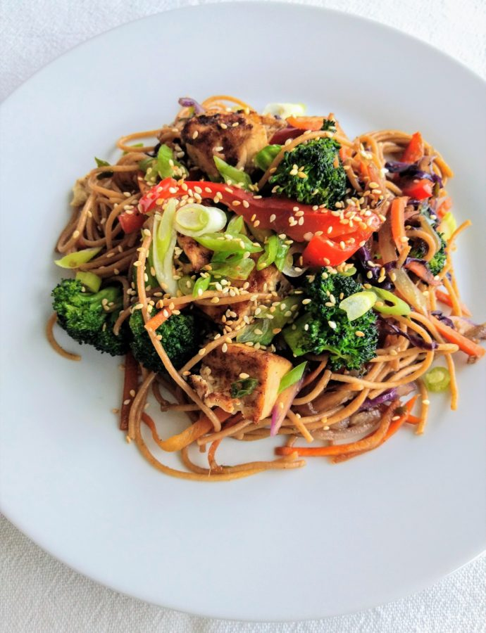 Vegan Spicy Tofu and Vegetable Lo Mein