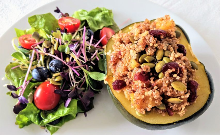 Vegan Apple Stuffed Acorn Squash