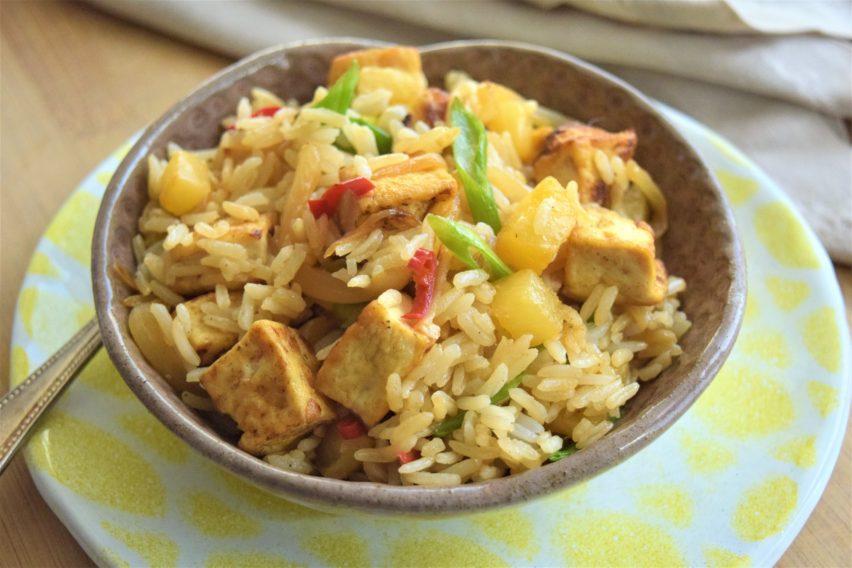 Vegan Pineapple Fried Rice with Tofu