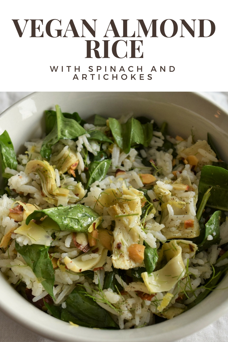 Vegan Almond Rice with Spinach and Artichokes