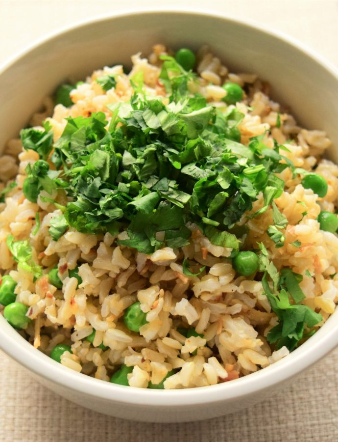 Coconut Brown Rice with Peas