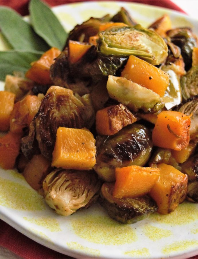 Roasted Brussels Sprouts, with Apples and Butternut Squash