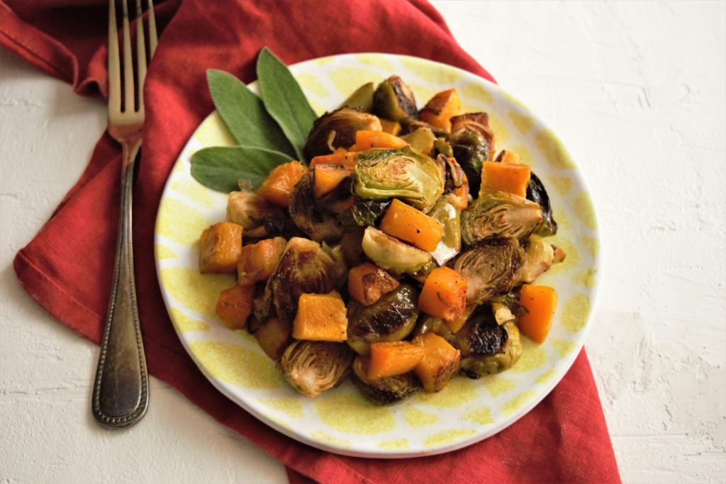 Roasted Brussels Sprouts with Apples and Butternut Squash