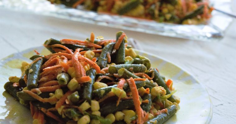 Easy Green Beans Salad with Carrots and Corn