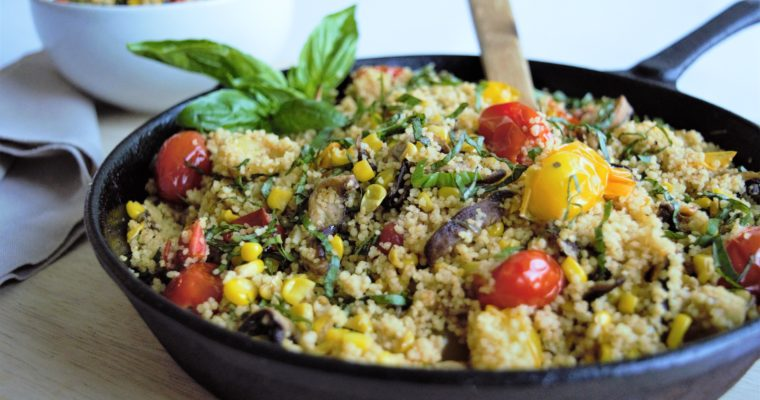 Easy Vegan Couscous with Shiitake Mushrooms, Tomatoes and Corn