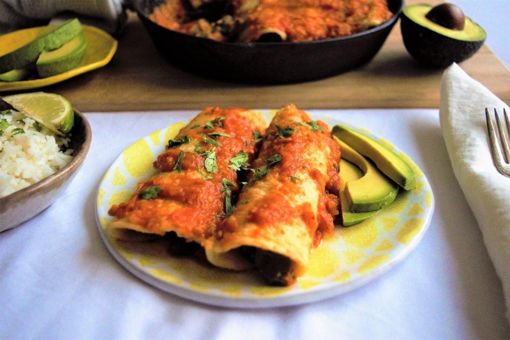 vegan eggplant enchiladas