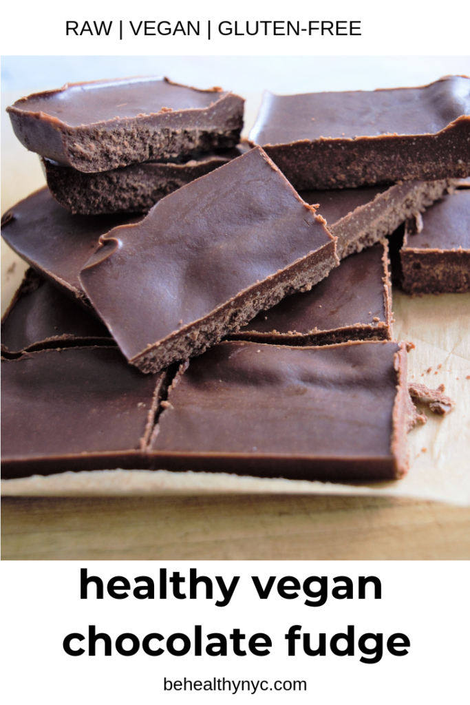 This healthy vegan chocolate fudge is super easy to make. Cocoa powder, coconut oil, and peanut butter produce a delicious fudge that is good for you!