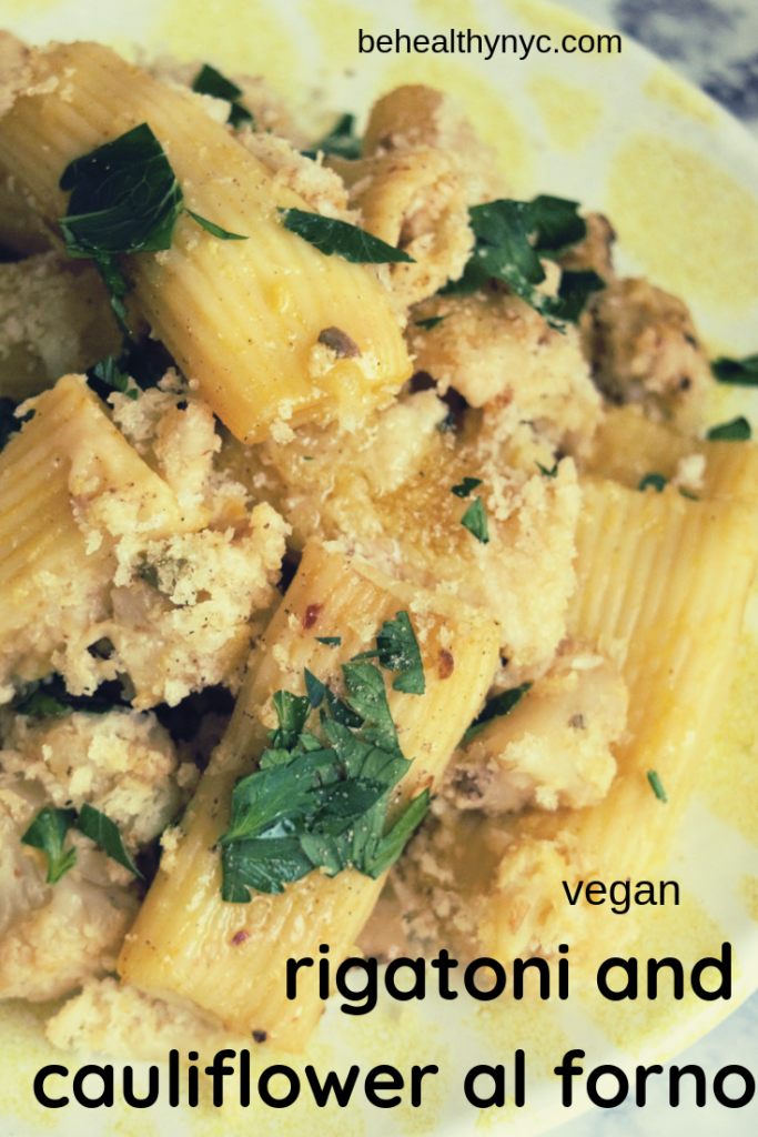 Vegan rigatoni al forno made with homemade vegan cheese. It is a quick, delicious, and easy side dish recipe that will delight everyone.
