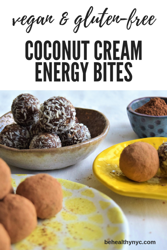 Refined sugar free, gluten-free, healthy, and delicious! These raw vegan coconut cream energy bites are great as a healthy treat or snack.