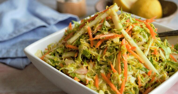 Vegan Lemony Brussels Sprout Slaw