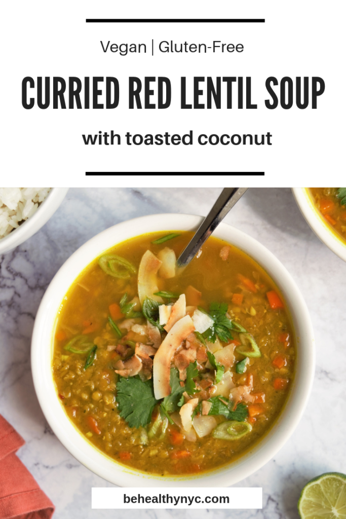 A warm, spiced, and perfect weekend dish. This healthy vegan curried red lentil soup with toasted coconut is high in protein and low in carbs.