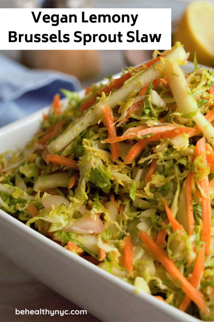 This is easy and delicious vegan lemony Brussels sprouts slaw recipe. It is a great alternative for the classic cabbage slaw.