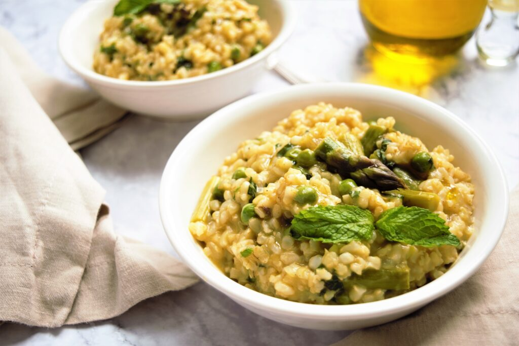 Vegan Risotto with Peas, Asparagus, and Mint