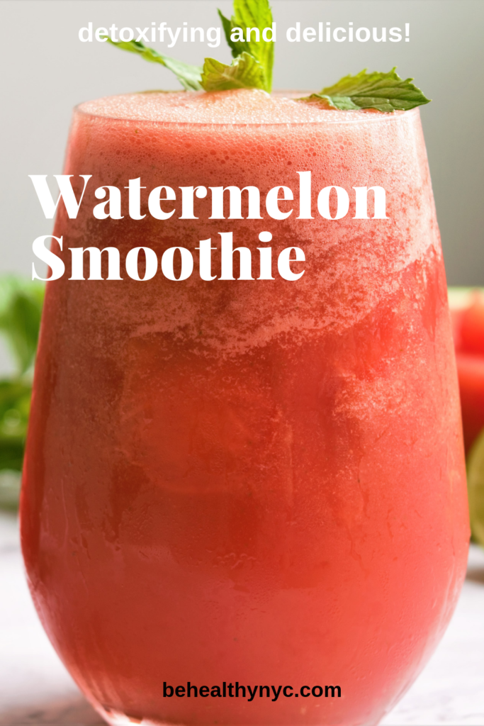 The best way to refresh a hot Summer day is with a watermelon mint smoothie. So delicious and good for you.The perfect drink for the whole family.